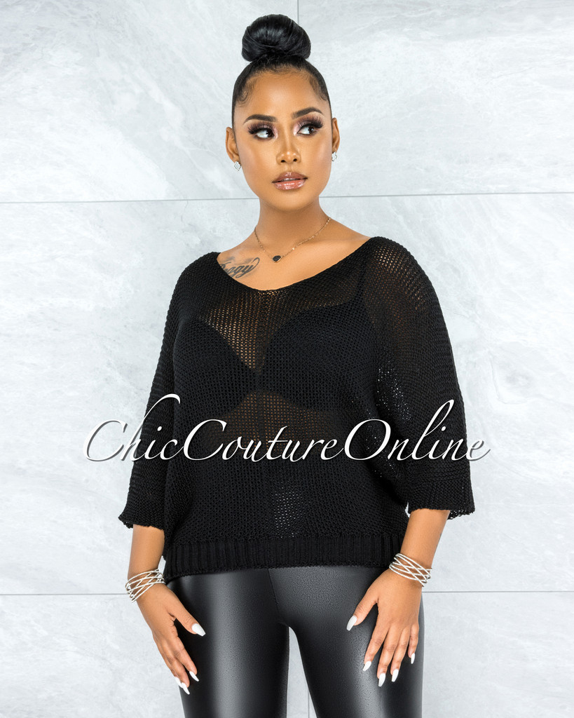 Lovera Black Crochet Oversized Sweater