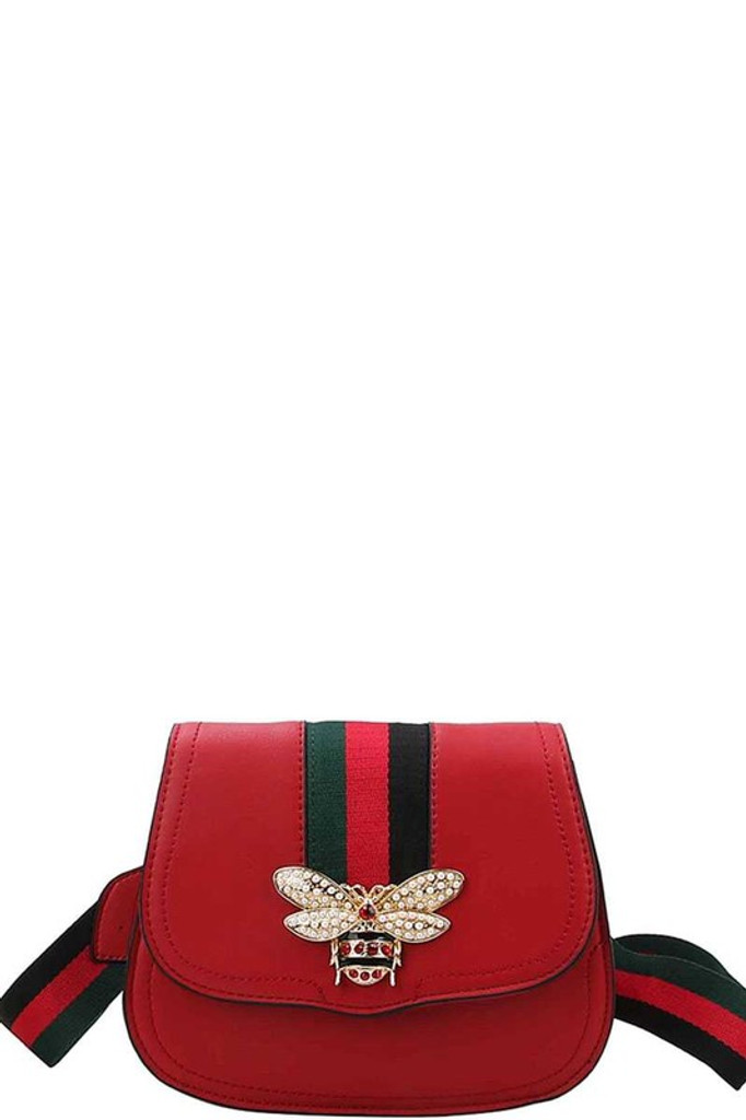 Larissa Red Embellished Crossbody Bag