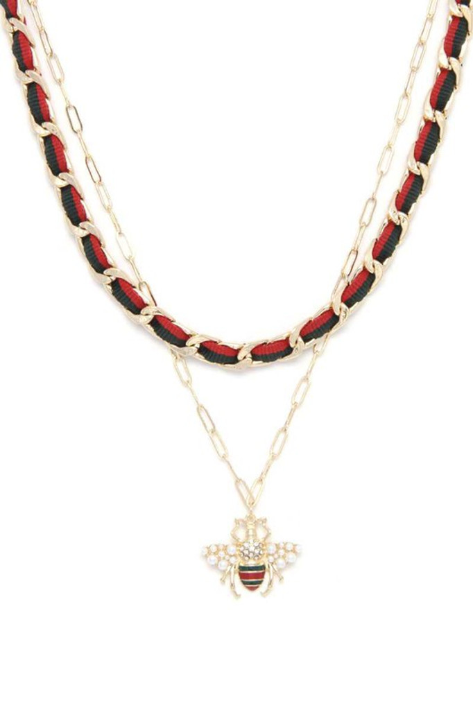 Elliot Gold Double Stand Bee Charm Necklace