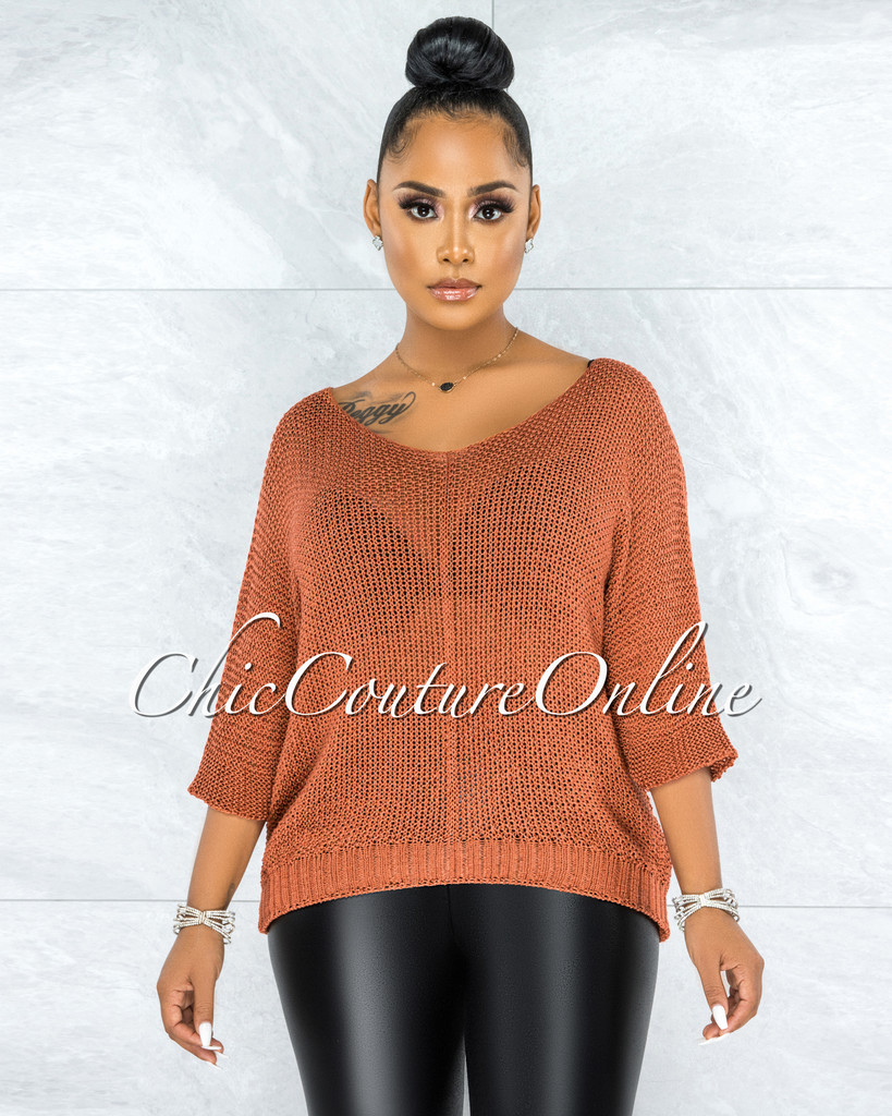 Lovera Rust Crochet Oversized Sweater