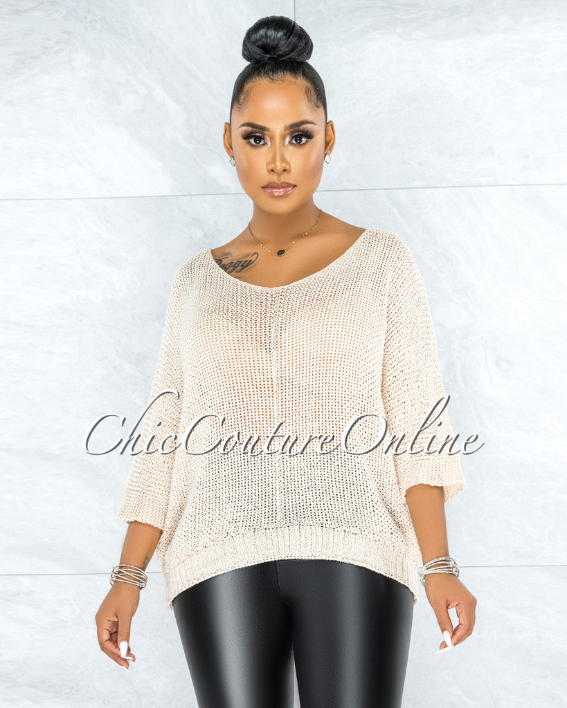 Lovera Cream Crochet Oversized Sweater