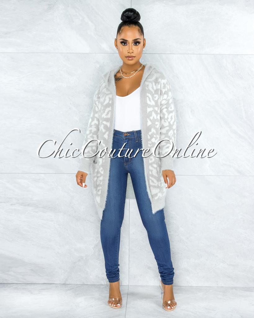 Libio Light Grey Leopard Print Knit Cardigan