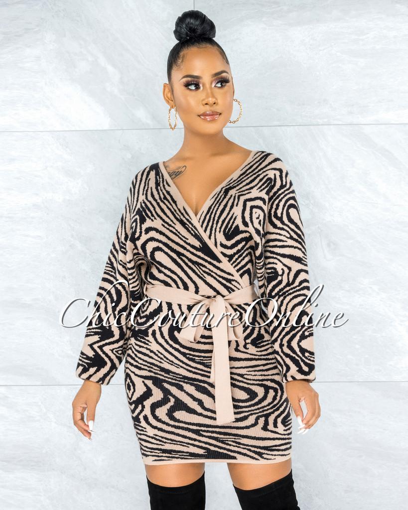 Portugal Brown Black Print Wrap Knit Sweater Dress