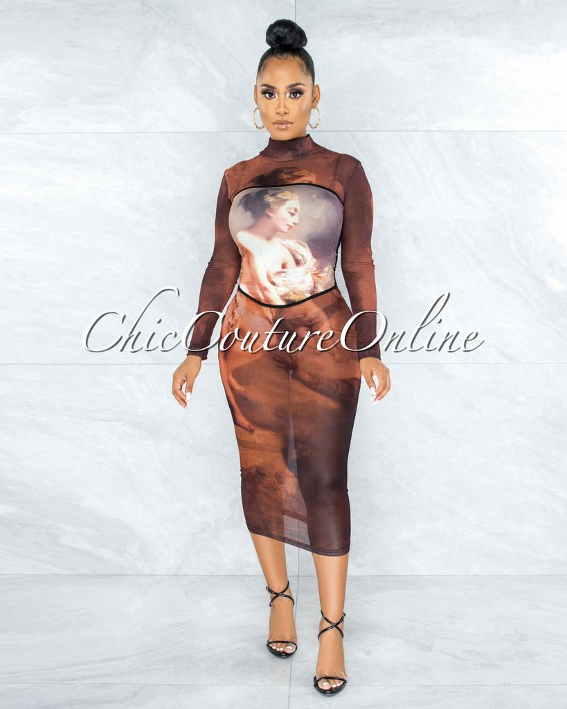 Loredana Brown Antique Art Print Mesh Midi Dress w Over-Top