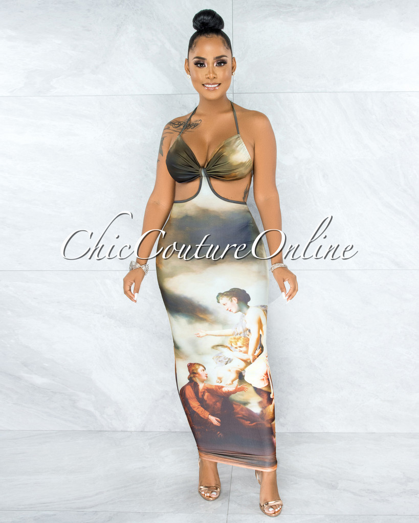 Escala Olive Multi Antique Art Print Cut-Out Maxi Dress