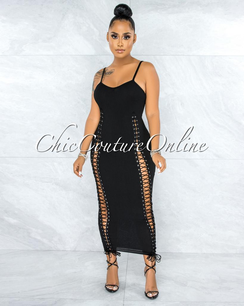 Alconia Black Lace Up Knit Maxi Dress