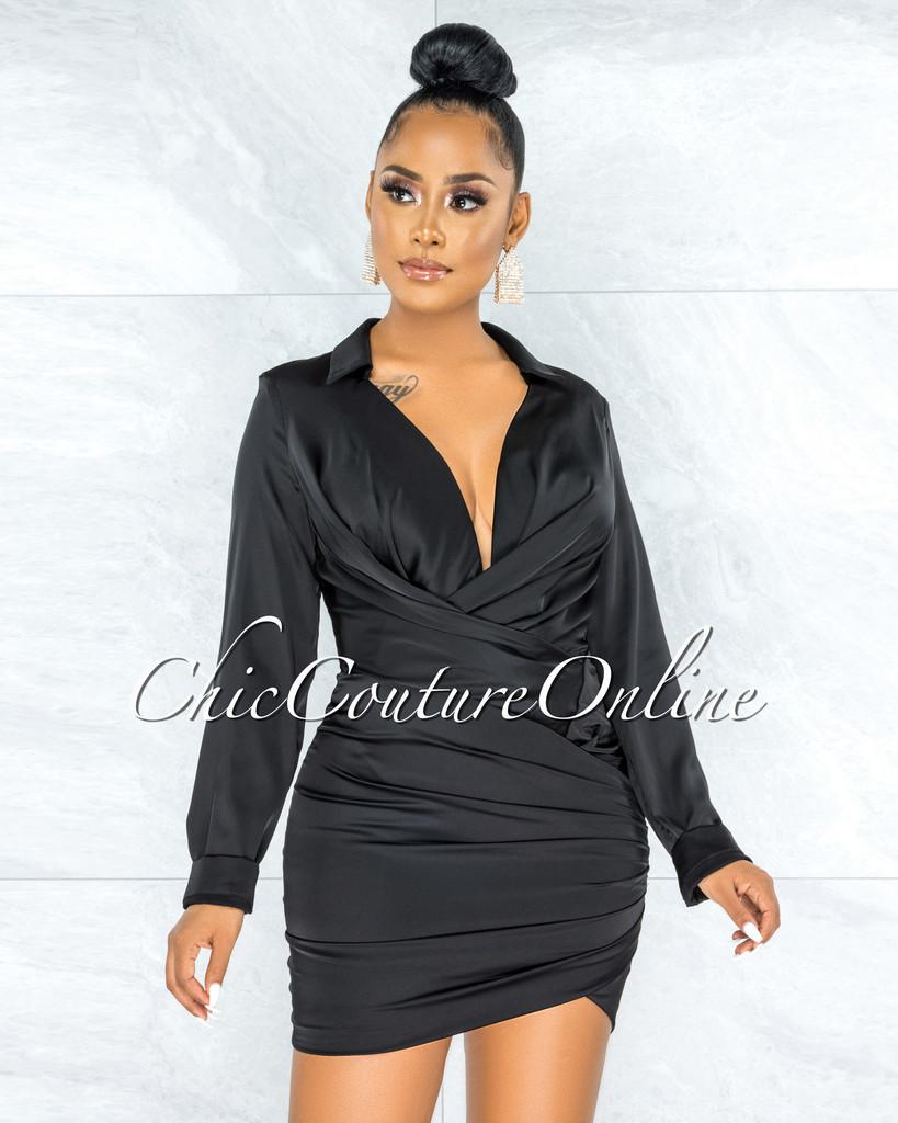 Antonia Black Wrap Long Sleeves Draped Satin Dress