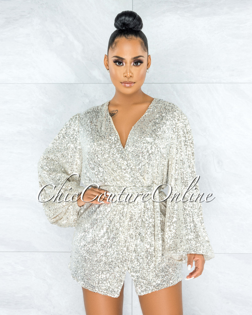 Angie Cream Silver Sequins Self-Tie Belt Trench Dress