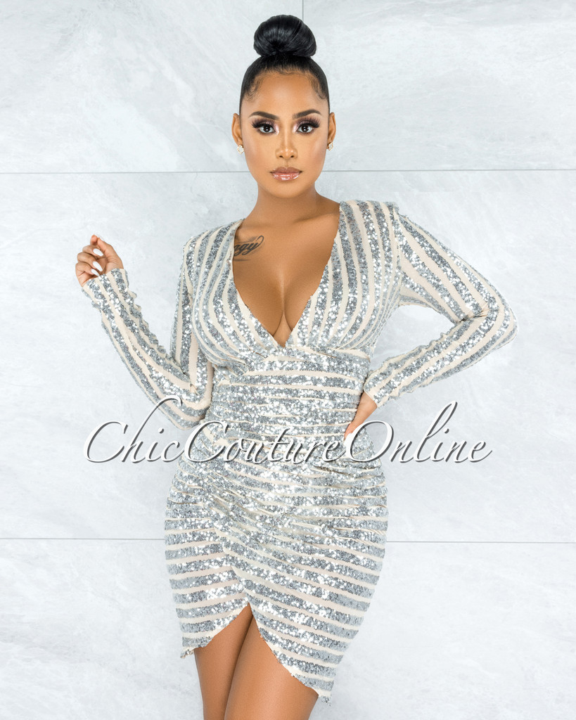 Lorena Nude Silver Sequins Straps Drap V-Neck Dress
