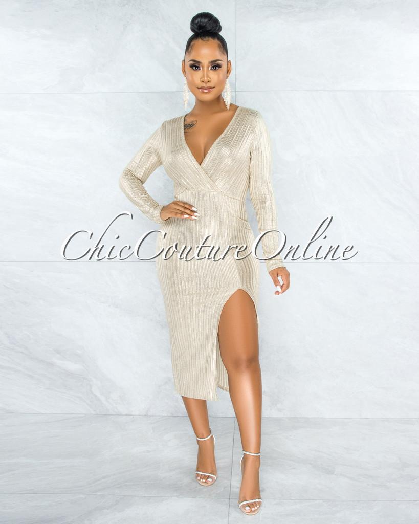 Delilah Cream Silver Shimmer Stripes Side Slit Midi Dress