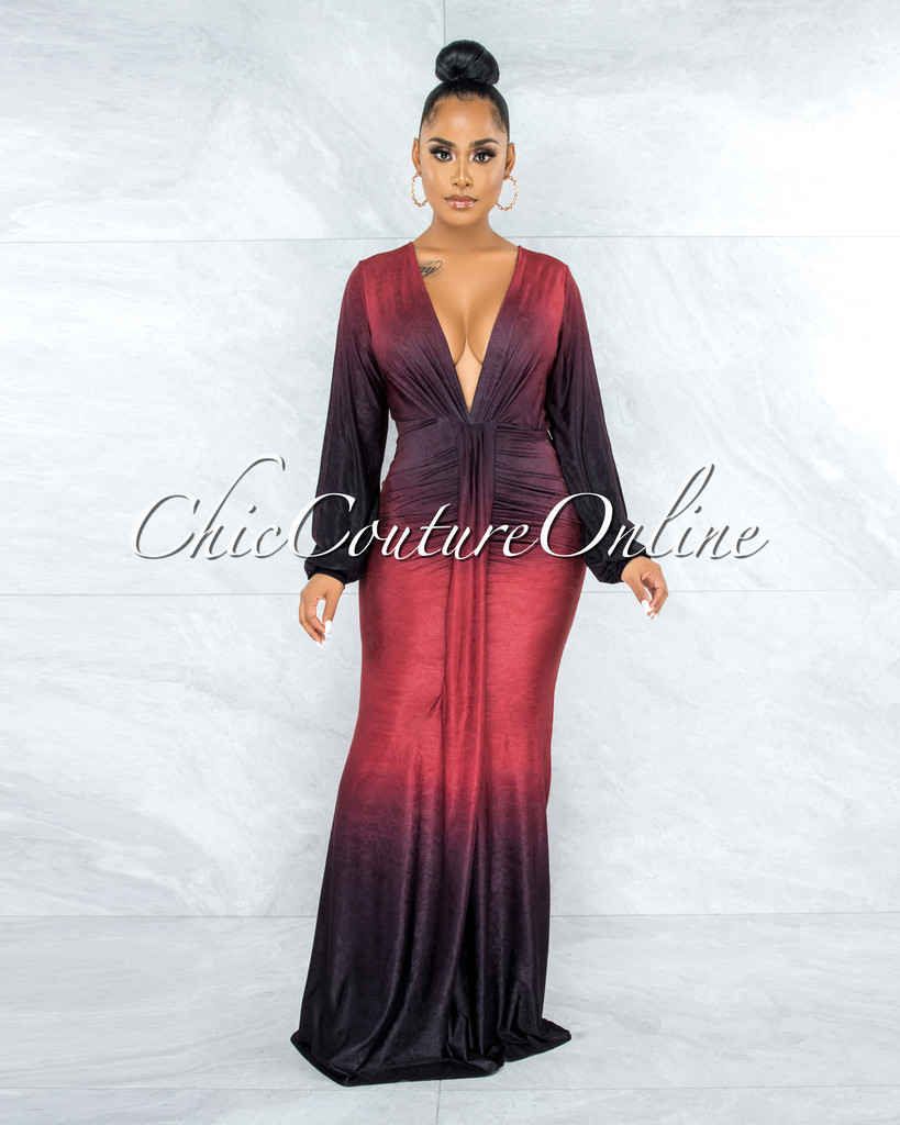 Yashira Brown Brick Ombre Front Drape Overlay Maxi Dress