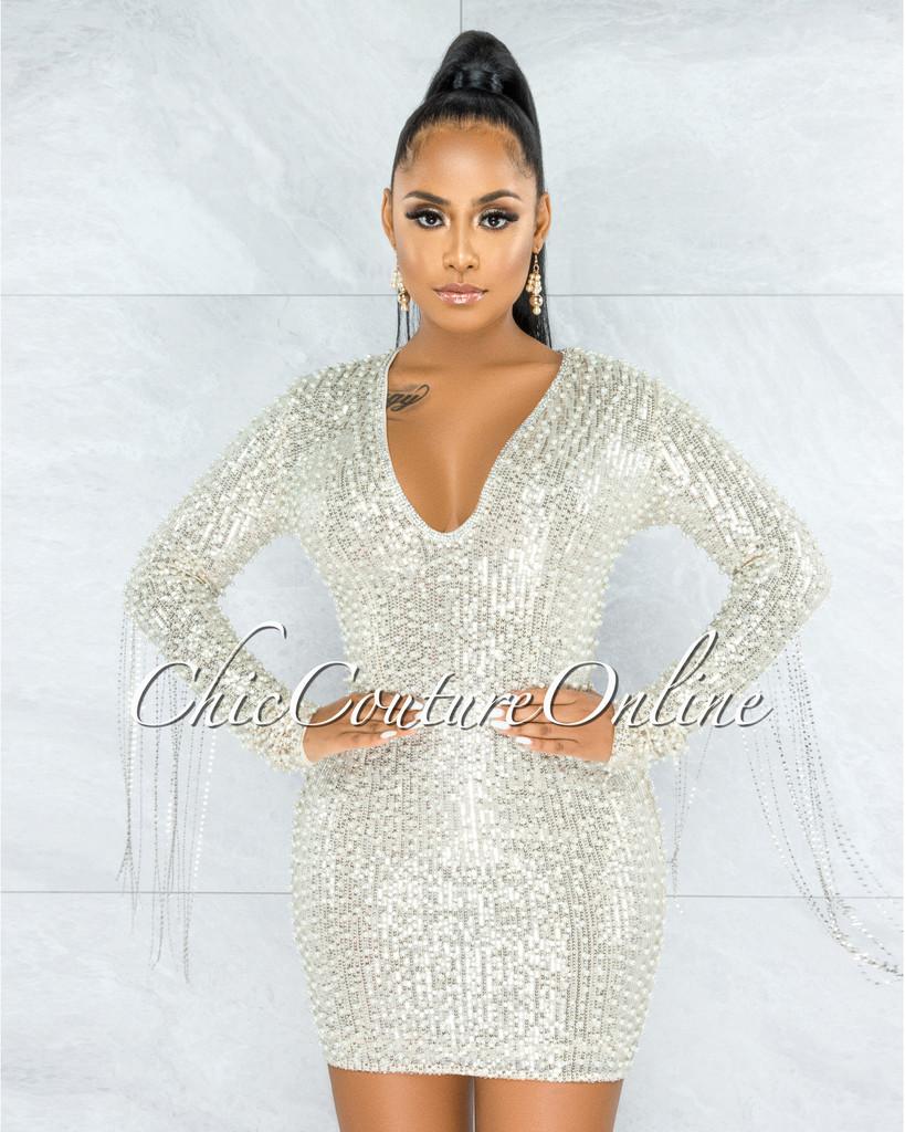 Glory Silver Sequin Pearls Chain Sleeves Fringe Mini Dress