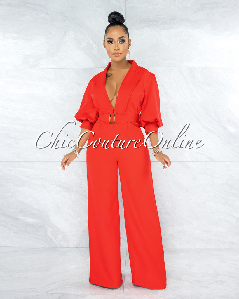 Excess Red Belted Puffy Sleeves Jumpsuit