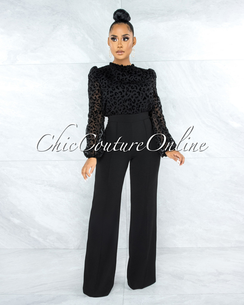 Tamara Black Leopard Print Back Tie Key-Hole Jumpsuit