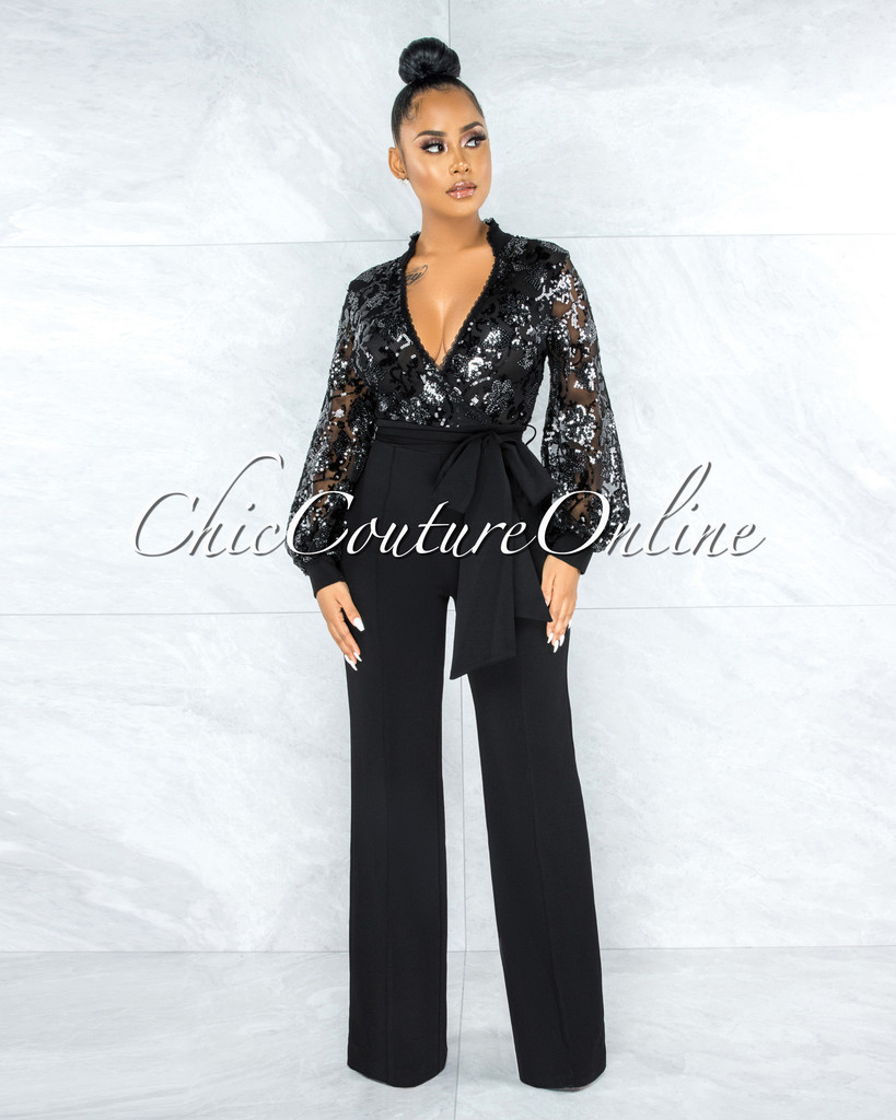Patricia Black Sequin Sheer Top Self-Tie Belt Jumpsuit