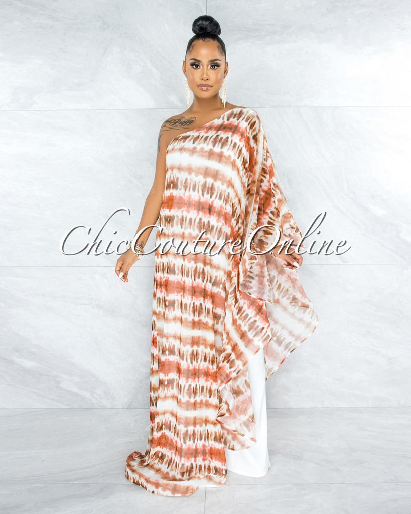 Perlace Cream Orange Dramatic Single Sleeve Tunic Jumpsuit