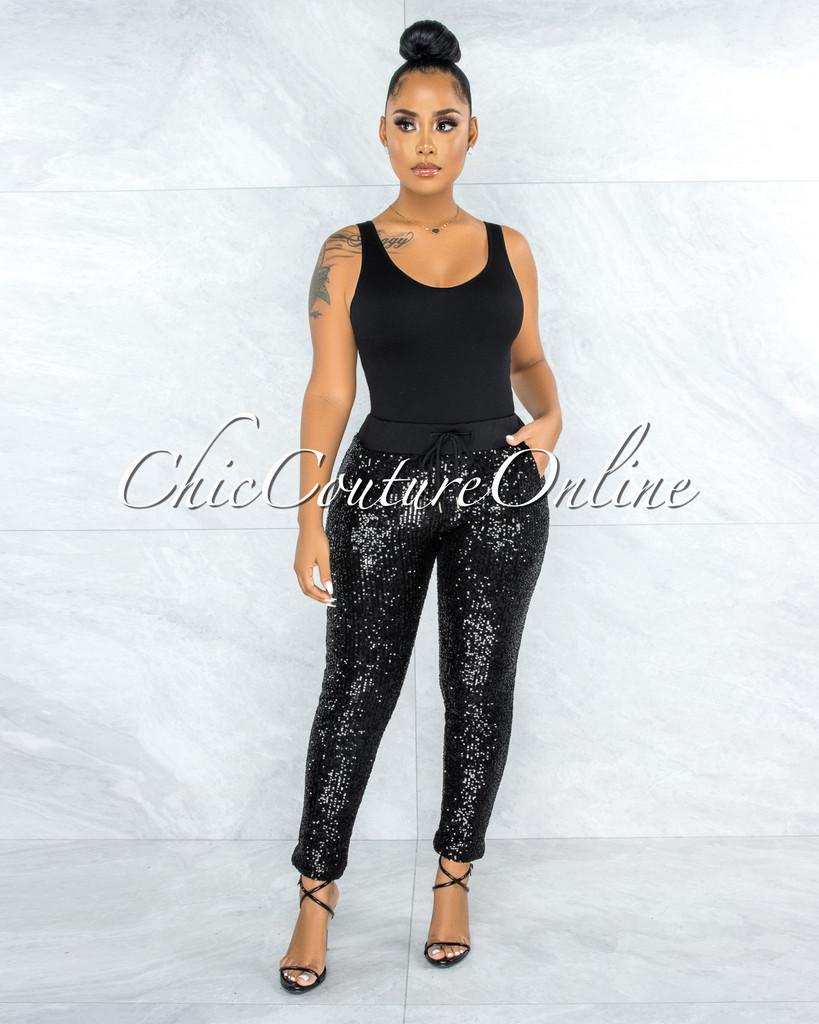 Umberla Black Sequins Ankle Pants