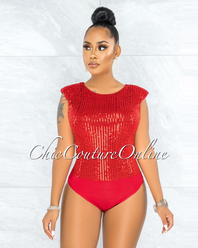 Ursula Red Sequins Padded Shoulders Bodysuit