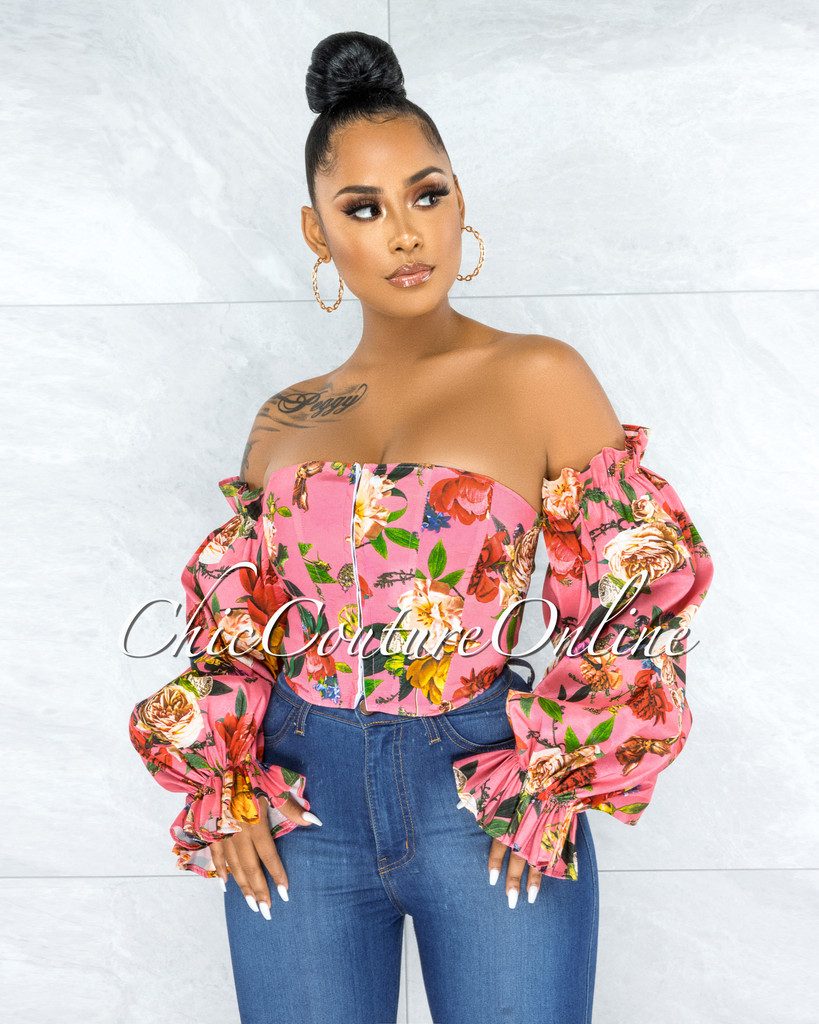Ethan Salmon Floral Print Bubble Sleeves Corset Top