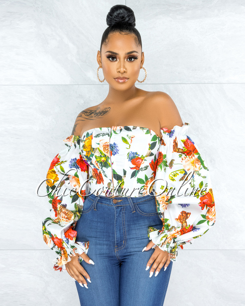 Ethan Off-White Floral Print Bubble Sleeves Corset Top