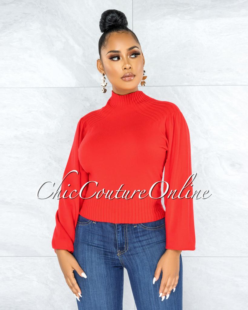 Sharmina Red Ribbed Knit Top