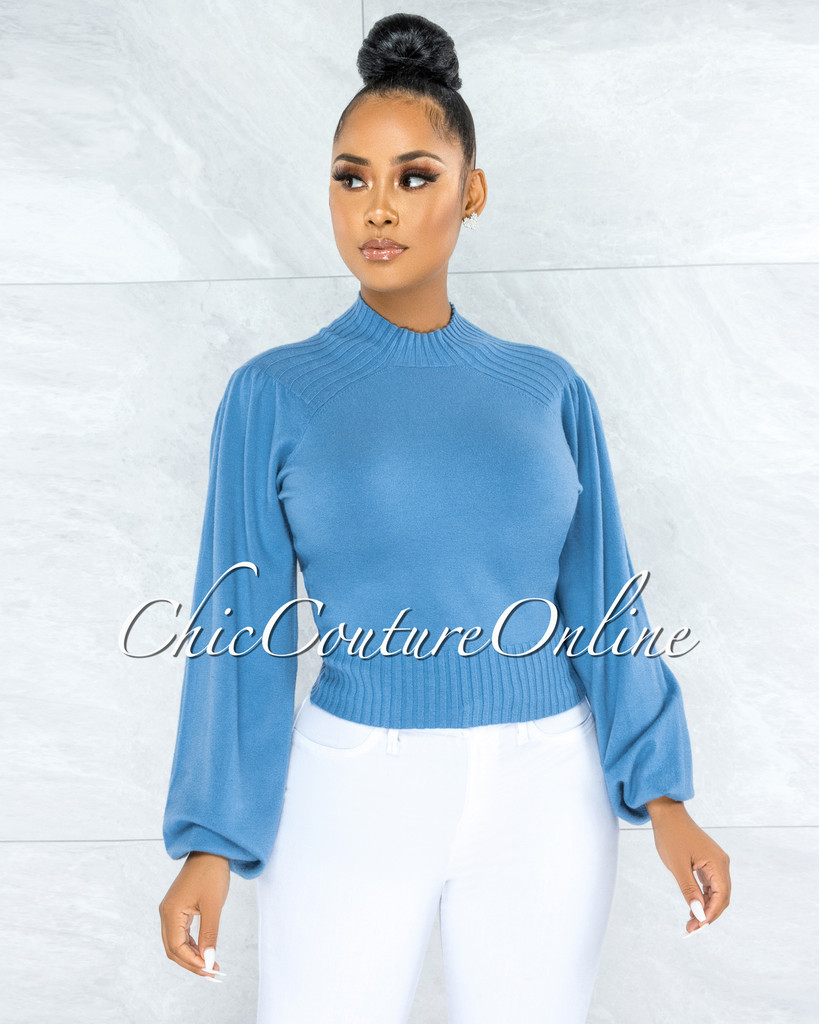 Sharmina Periwinkle Ribbed Knit Top