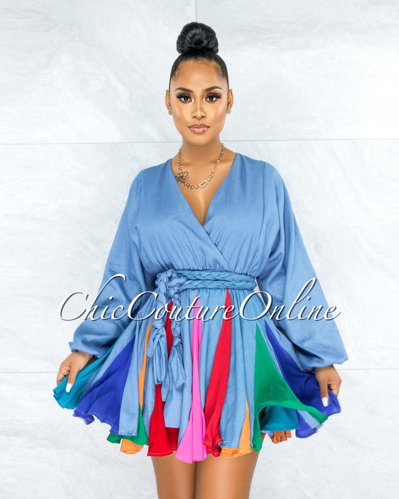 Padamy Blue Chambray Multi-Color Pleated Bottom Skater Dress