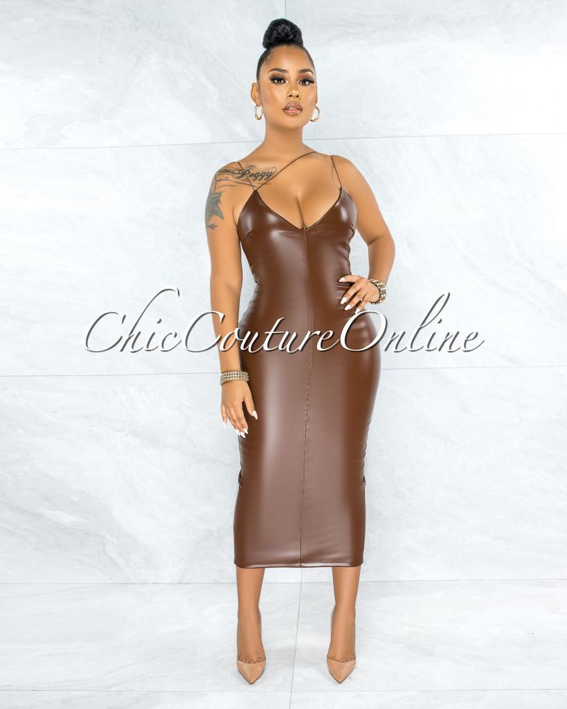 Ahuva Brown V-Neck Faux Leather Midi Dress