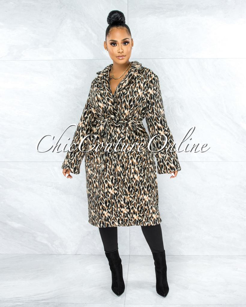Bestla Leopard Print Double Breast Heavyweight Coat