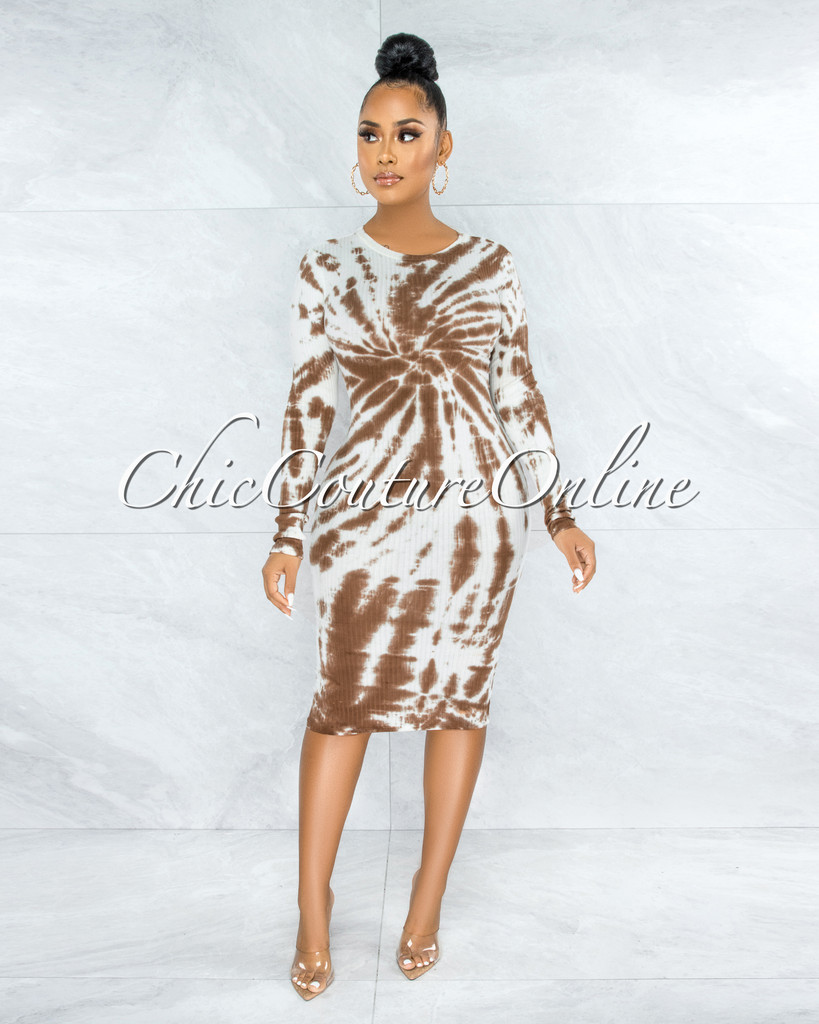 Licia White Brown Tie-Dye Ribbed Midi Dress