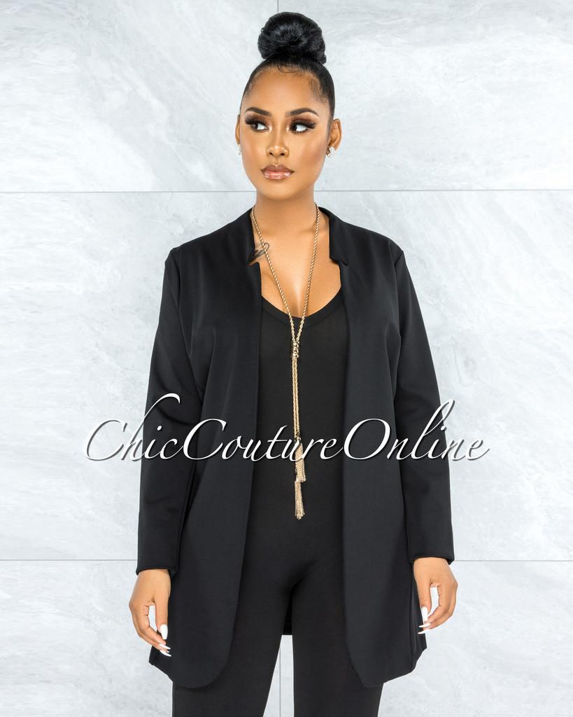 Manelin Black Open Front Long Sleeves Jacket