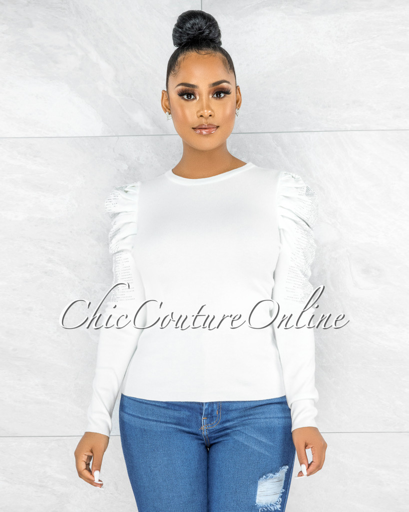 Femay Off-White Silver Rhinestones Bubble Sleeves Knit Top