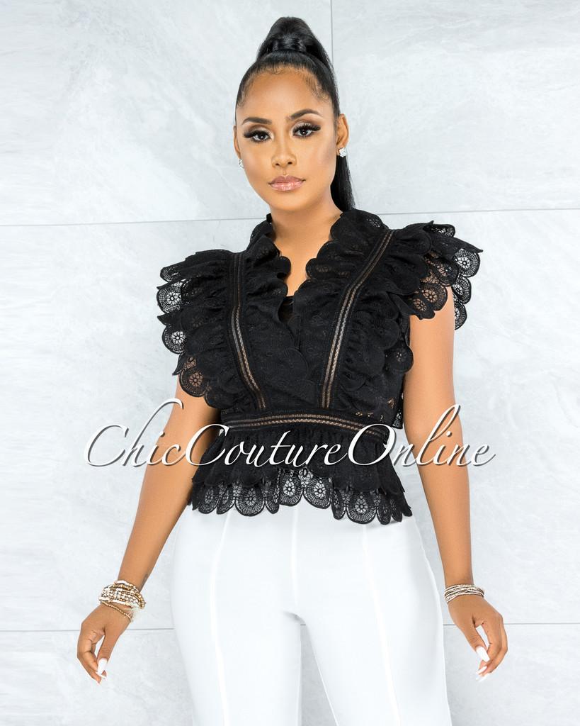 Querida Black Crochet Ruffle Scalloped Blouse