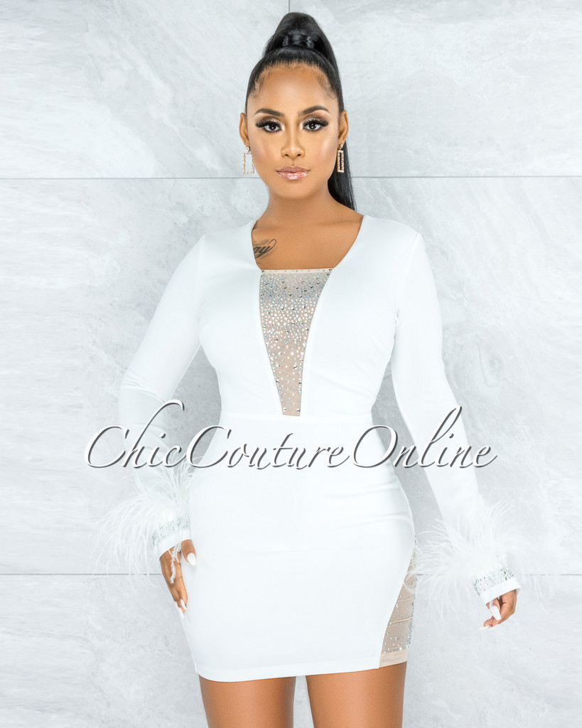 Stika Off-White Rhinestones Tulle & Feathers Accent Dress