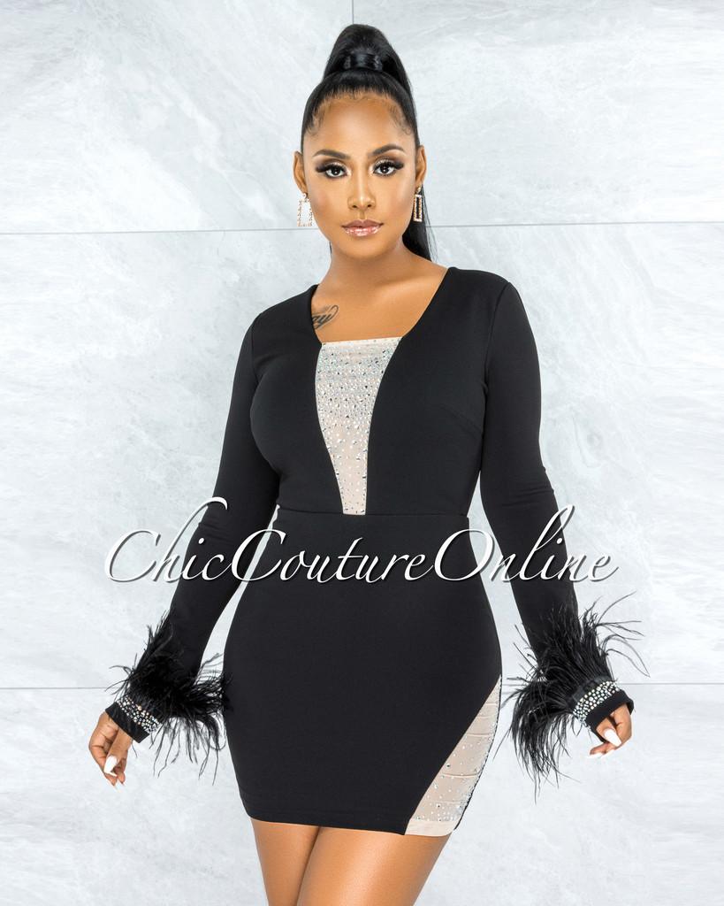 Stika Black Rhinestones Tulle & Feathers Accent Dress
