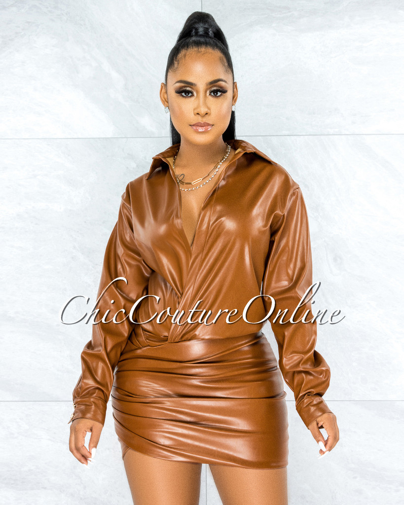 Lesley Camel Faux Leather Drape Bottom Dress