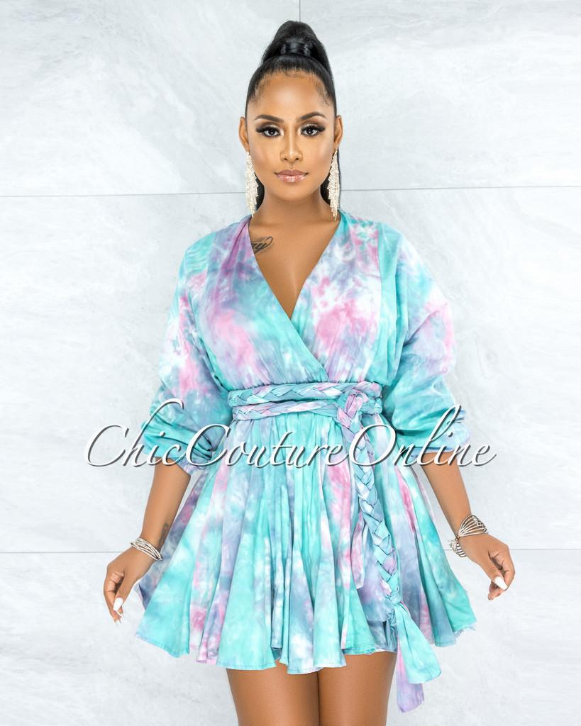 Kreeli Jade Tie-Dye Pleated Bottom Skater Dress