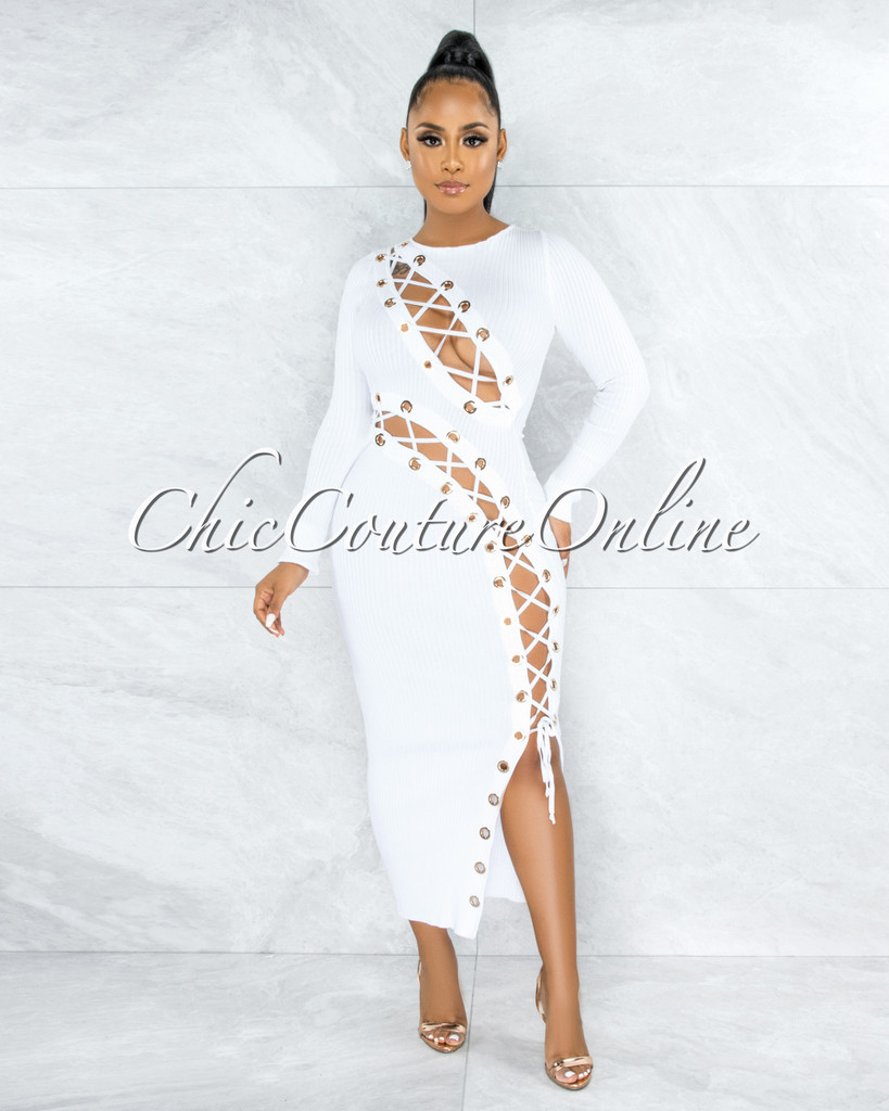 Andina White Gold Rings Lace-Up Ribbed Maxi Dress