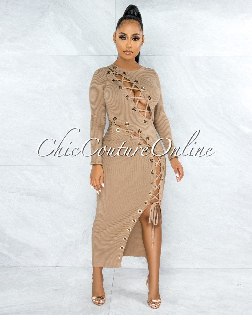 Andina Nude Gold Rings Lace-Up Ribbed Maxi Dress