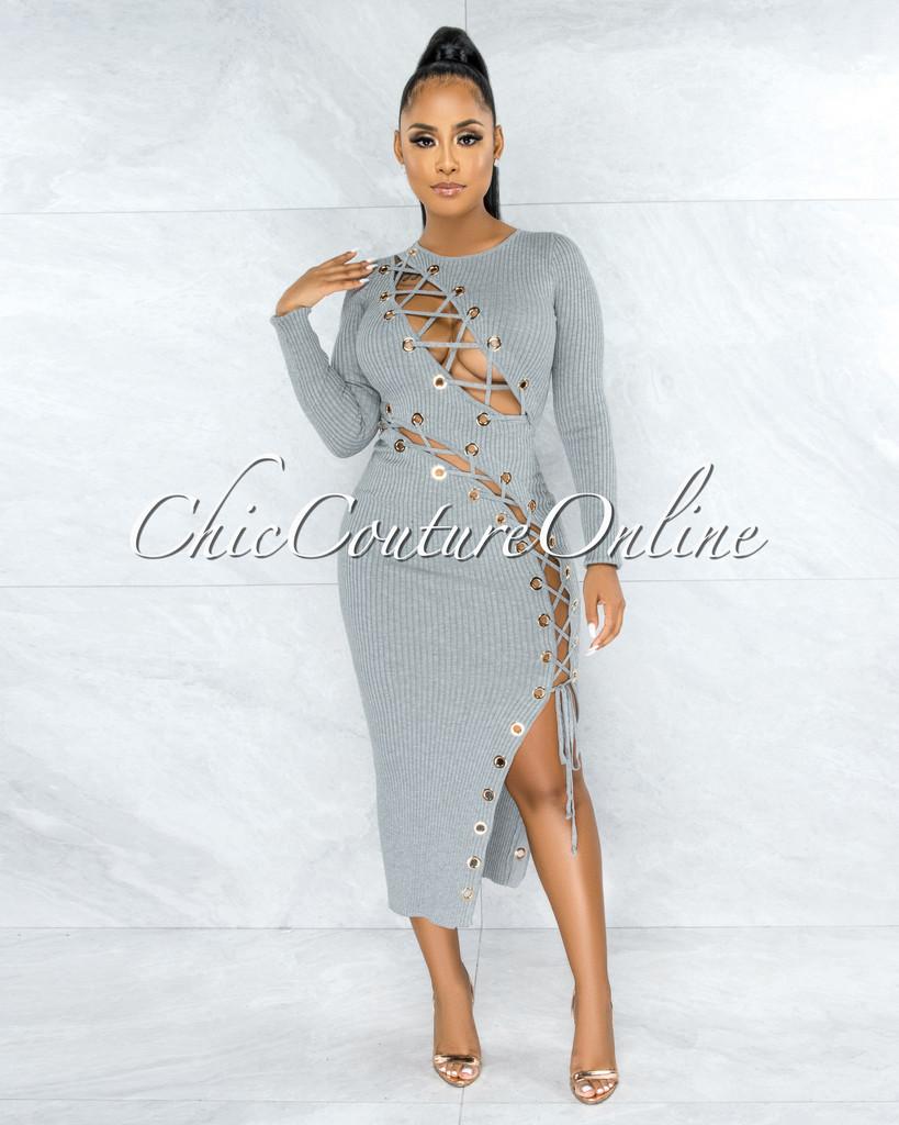 Andina Grey Gold Rings Lace-Up Ribbed Maxi Dress