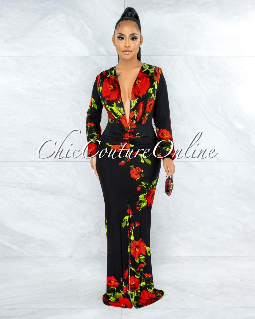 Boyne Black Red Flowers V-Neck Front Drape Maxi Dress & Mask
