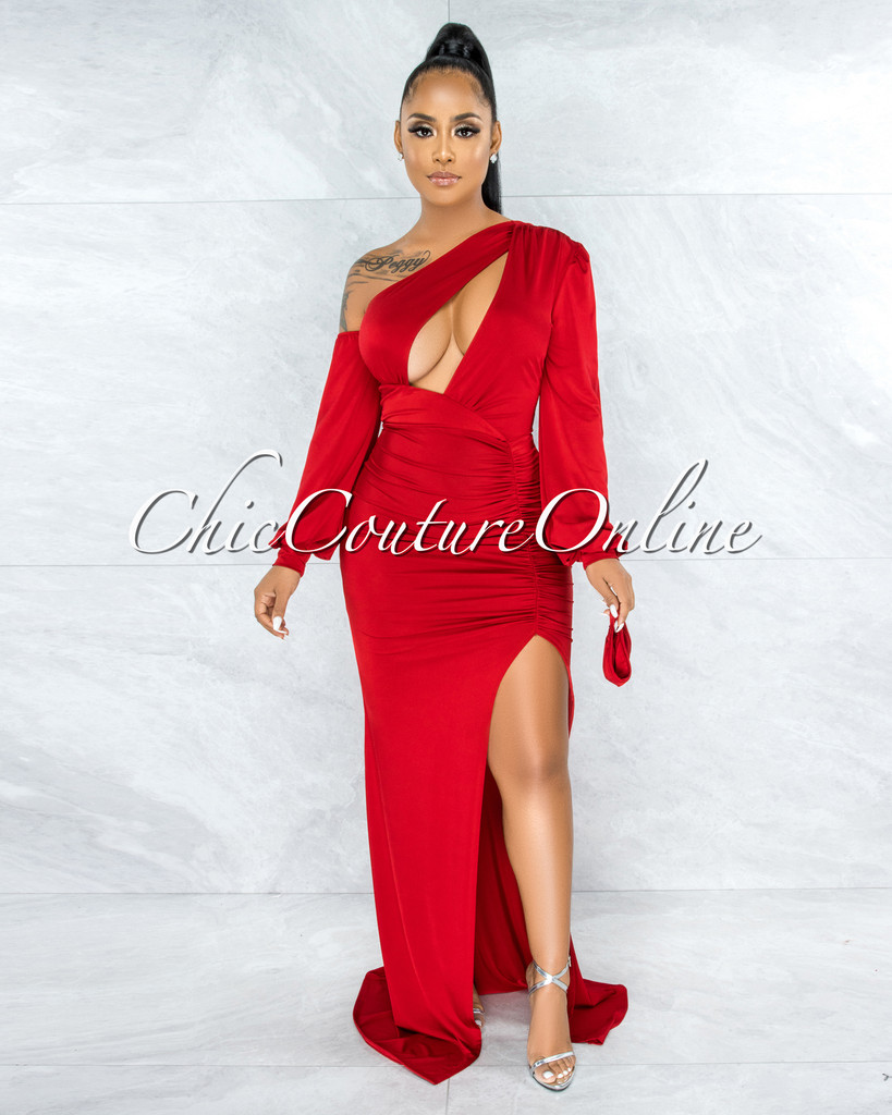 Canby Red Single Shoulder Cut-Out Drape Maxi Dress & Mask