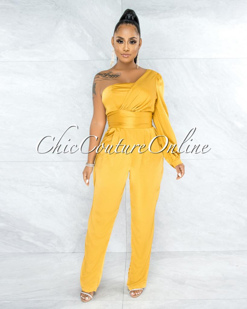 Alanza Mustard Yellow Single Sleeves Pleated Satin Jumpsuit