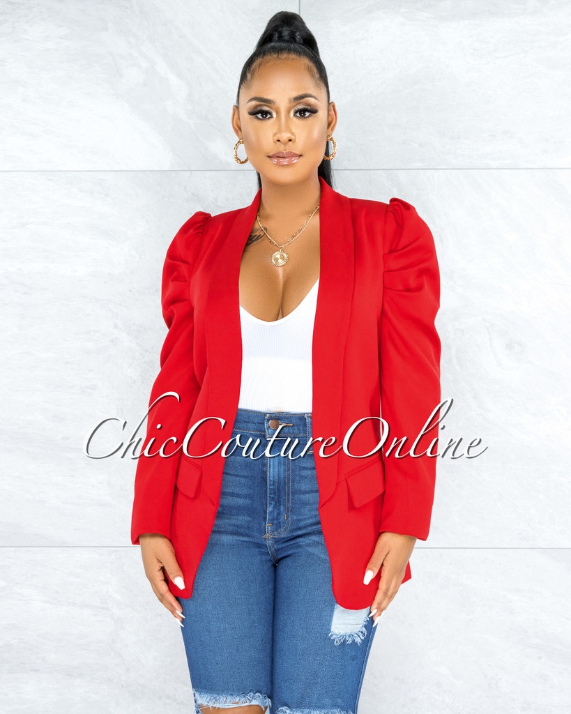 Nally Red Bubble Sleeves CURVACEOUS Jacket