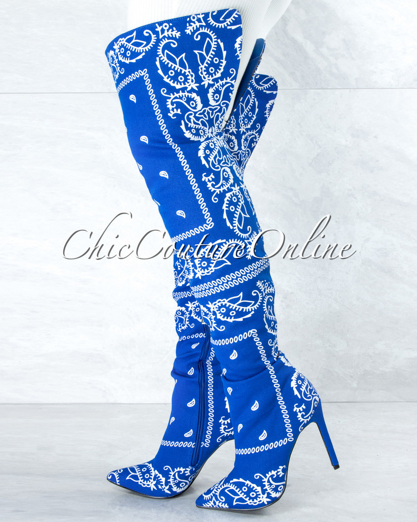 Spring Royal Blue White Paisley Print Over-The-Knee Boots
