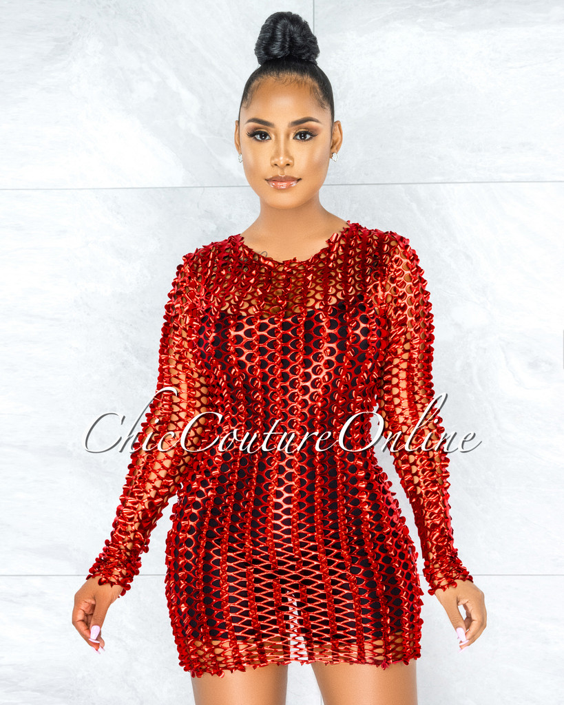 Dyre Red Metallic Perforated See-Thru Tank Dress
