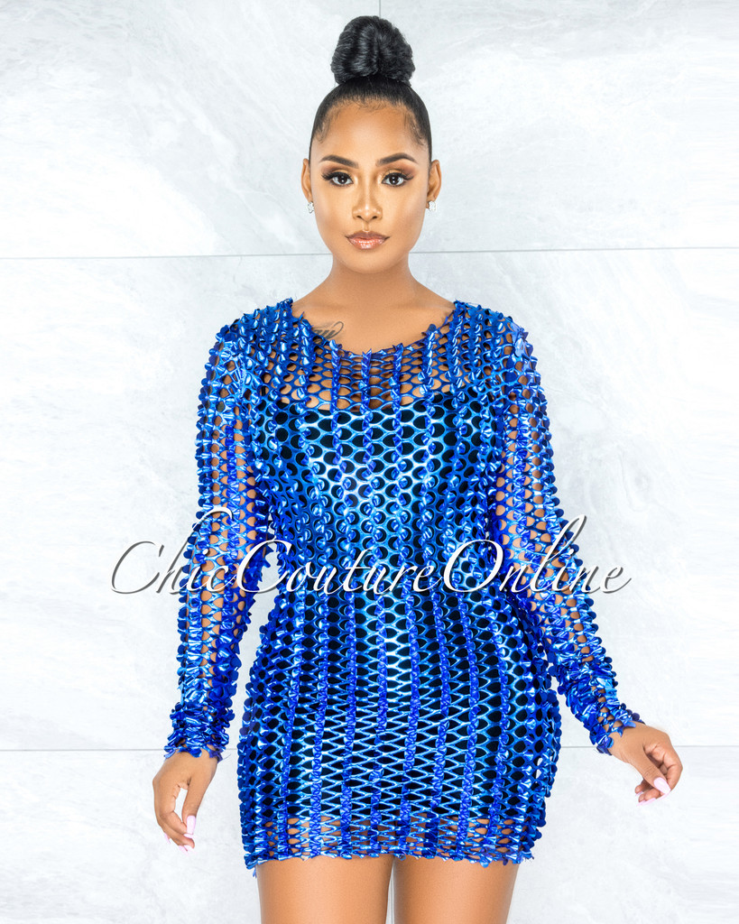 Dyre Royal Blue Metallic Perforated See-Thru Tank Dress