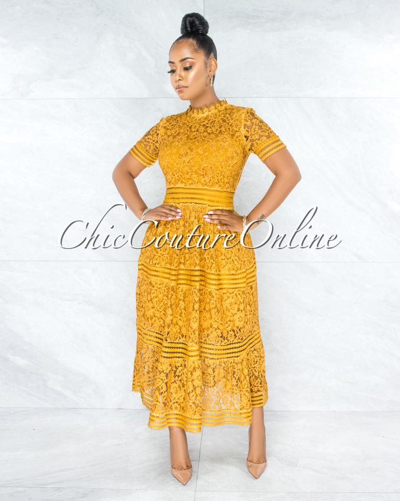 Feather Mustard Yellow Lace Midi Dress