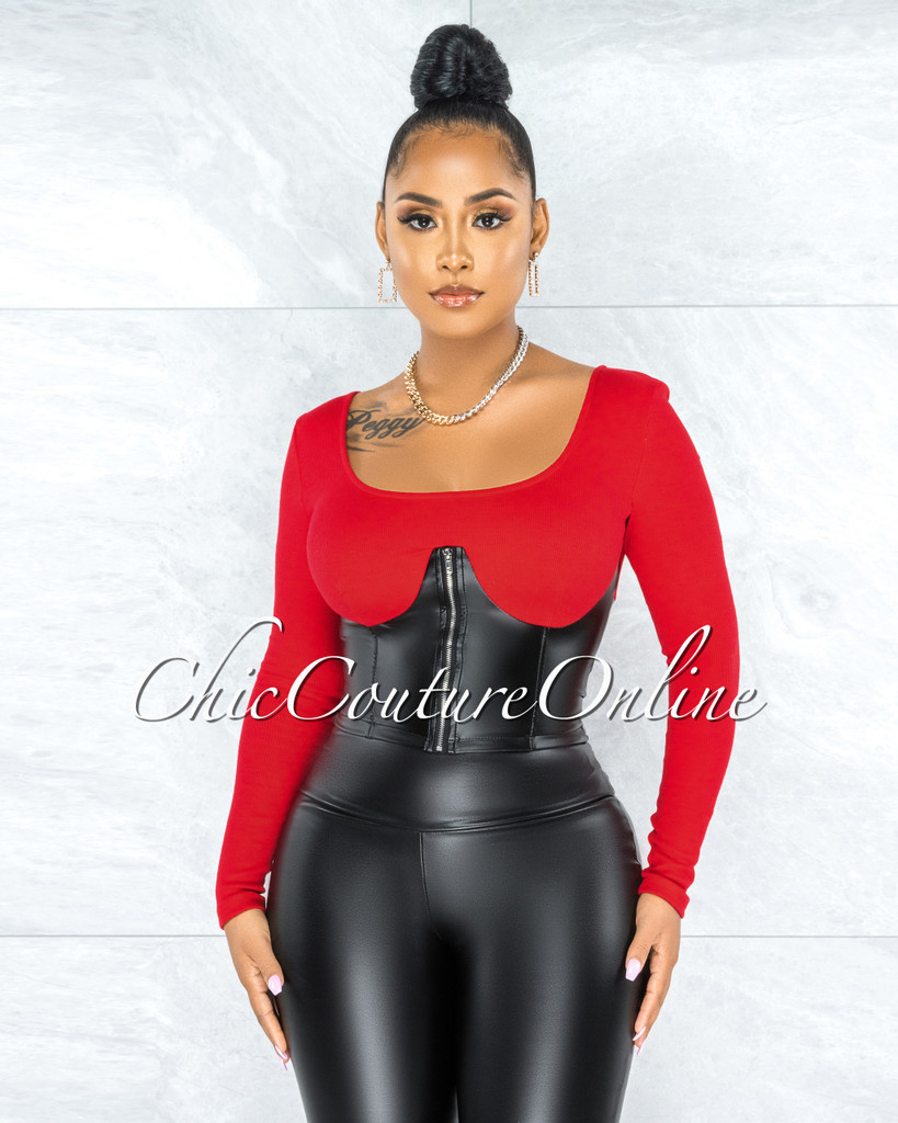 Glade Red Black Faux Leather Corset Illusion Top