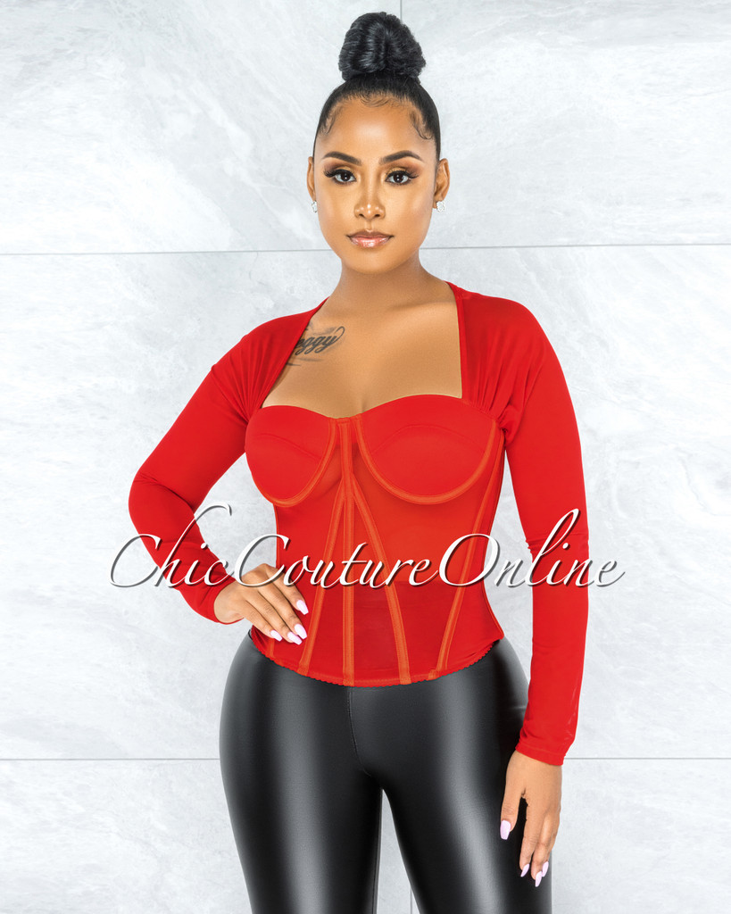 Tyronica Red Padded Cups Mesh Corset